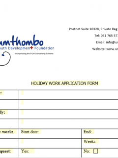 Holiday Work Application